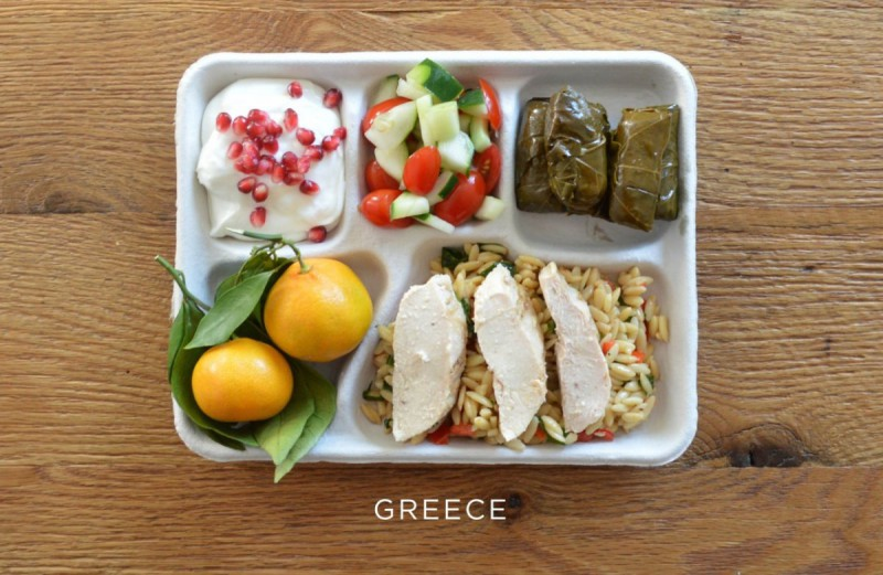 recko_greece-baked-chicken-over-orzo-stuffed-grape-leaves-tomato-and-cucumber-salad-fresh-oranges-yogurt-with-pomegranate-seeds