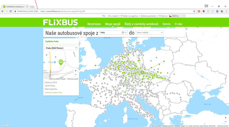 Zastávek má FlixBus po Evropě opravdu spoustu